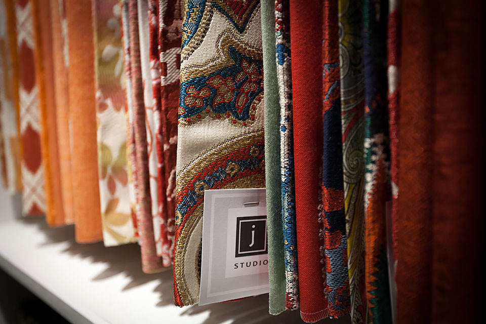 Closeup view of colourful J Studio fabrics.