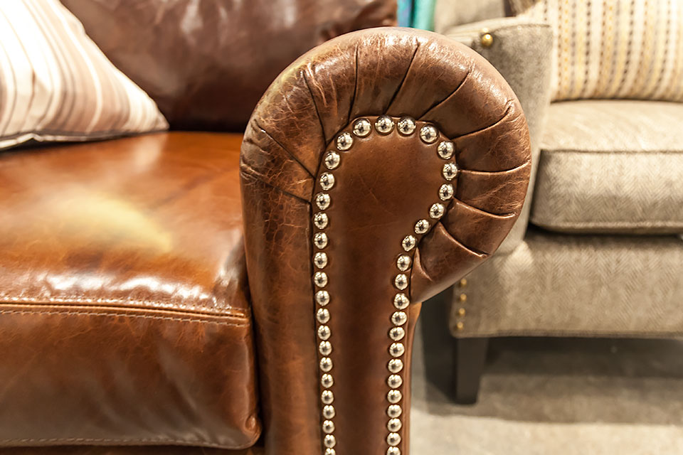 Closeup view of leather chair.
